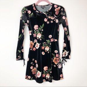 Topshop black floral velvet dress
